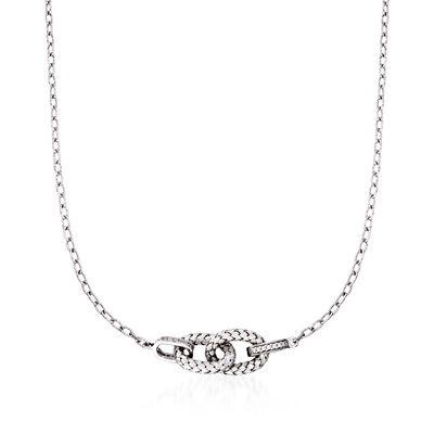 """Charles Garnier """"Violet"""" .29 ct. t.w. CZ Link Necklace in Sterling Silver, , default"""