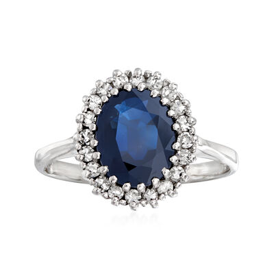 C. 1980 Vintage 1.85 Carat Sapphire and .25 ct. t.w. Diamond Ring in 14kt White Gold