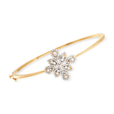 .65 ct. t.w. Diamond Floral Bangle Bracelet in 18kt Gold Over Sterling, , default