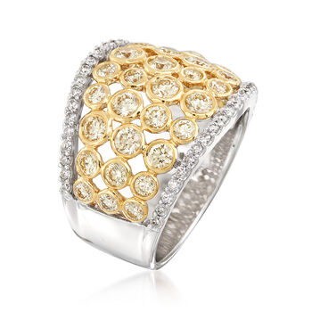2.00 ct. t.w. Yellow and White Diamond Bezels Ring in 14kt White and 18kt Yellow Gold, , default
