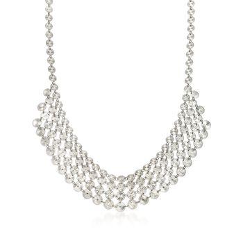 "Italian Sterling Silver Diamond-Cut Tribal Bib Necklace. 17.25"", , default"