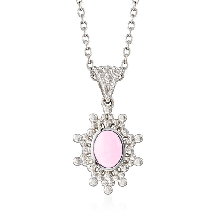 """Pink Opal Sun Pendant Necklace in Sterling Silver. 18"""""""
