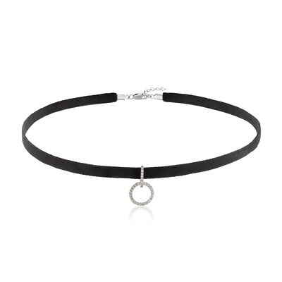 .12 ct. t.w. Diamond Open Circle and Black Velvet Choker Necklace in Sterling Silver, , default