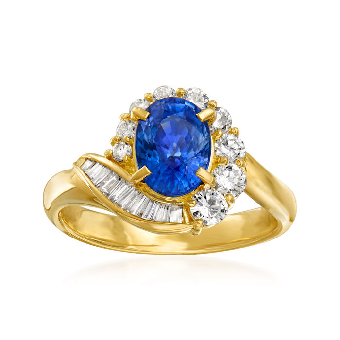 C. 1990 Vintage 1.72 Carat Sapphire and .58 ct. t.w. Diamond Ring in 18kt Yellow Gold. Size 5.5