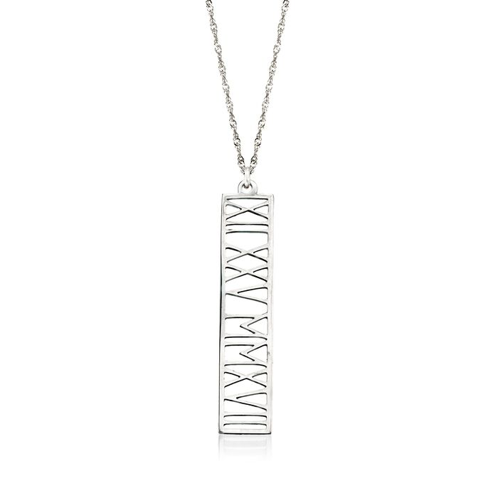 Sterling Silver Roman Numeral Personalized Date Pendant Necklace, , default