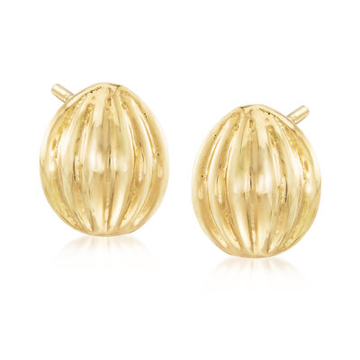 Ribbed Button Gold-Plated Metal Stud Earrings, , default