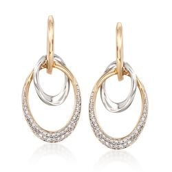 .50 ct. t.w. Diamond Double Oval Drop Earrings in 14kt Two-Tone Gold, , default