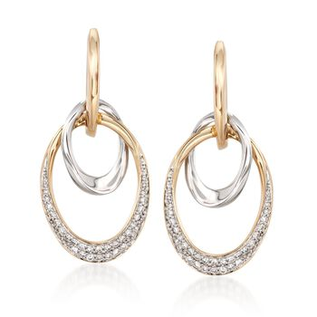 .50 ct. t.w. Diamond Double Oval Drop Earrings in 14kt Two-Tone Gold , , default