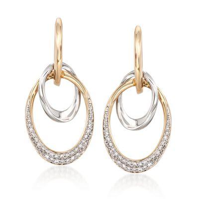 .50 ct. t.w. Diamond Double Oval Drop Earrings in 14kt Two-Tone Gold, , default