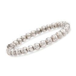 Italian Sterling Silver Beaded Bangle Bracelet, , default