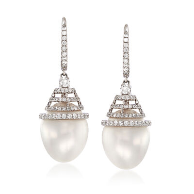 Cultured South Sea Pearl and .78 ct. t.w. Diamond Drop Earrings in 18kt White Gold, , default