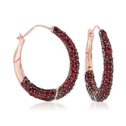 10.00 ct. t.w. Pave Garnet Hoop Earrings in 18kt Rose Gold Over Sterling Silver, , default