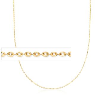 Italian .8mm 14kt Yellow Gold Adjustable Slider Cable Chain Necklace , , default