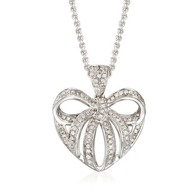 .25 ct. t.w. Diamond Heart Bow Pendant Necklace in Sterling Silver, , default