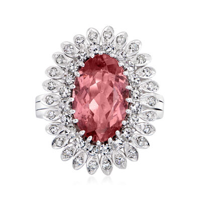 C. 1970 Vintage 4.25 Carat Pink Tourmaline and 1.00 ct. t.w. Diamond Ring in 14kt White Gold