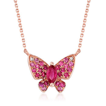 """.10 Carat Ruby and .20 ct. t.w. Pink Sapphire Butterfly Necklace in 14kt Rose Gold. 18"""", , default"""