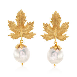 Italian Cultured Pearl Maple Leaf Drop Earrings in 18kt Gold Over Sterling, , default