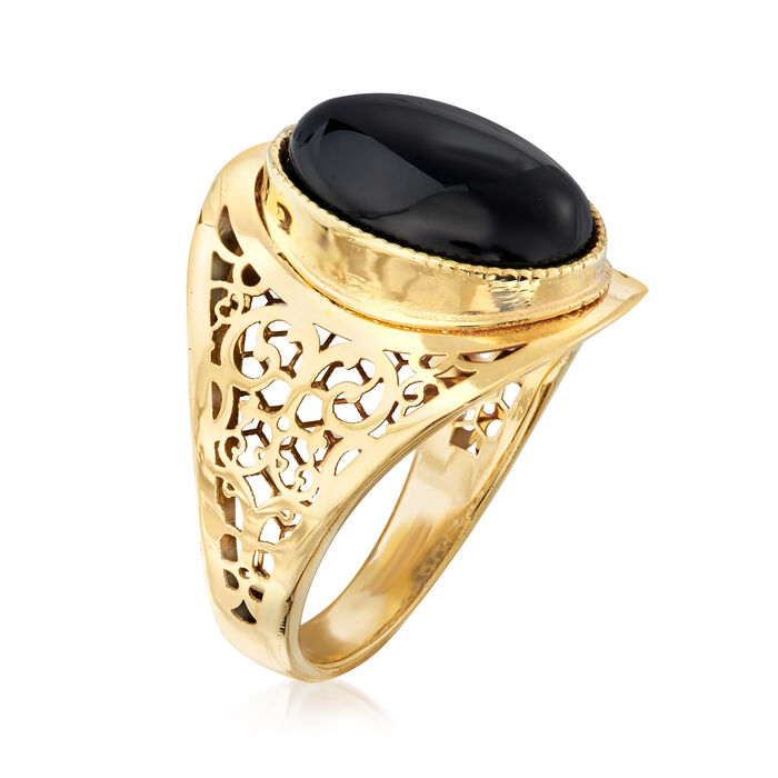 Italian Black Agate Ring in 14kt Yellow Gold
