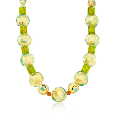 Green Murano Glass Bead Necklace with 14kt Gold Over Sterling, , default