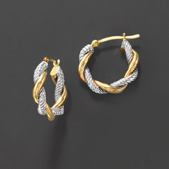 "14kt Two-Tone Gold Twisted Hoop Earrings. 5/8"""