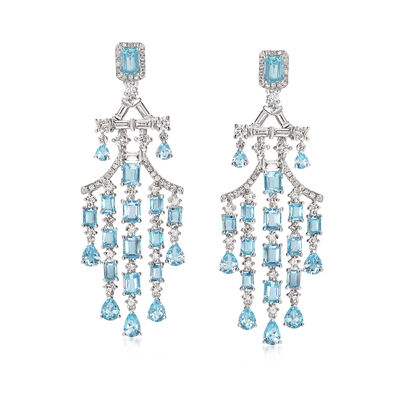 10.70 ct. t.w. Aquamarine and 3.49 ct. t.w. Diamond Chandelier Earrings in 18kt White Gold