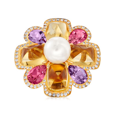 C. 1980 Vintage Chanel Cultured Pearl and 11.20 ct. t.w. Multi-Gemstone Flower Ring with .40 ct. t.w. Diamonds in 18kt Yellow Gold, , default