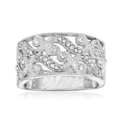 .50 ct. t.w. Diamond Openwork Swirl Ring in Sterling Silver