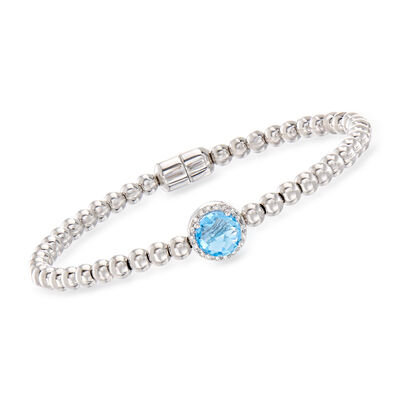 1.60 Carat Swiss Blue Topaz Beaded Bracelet in Sterling Silver with Magnetic Clasp, , default