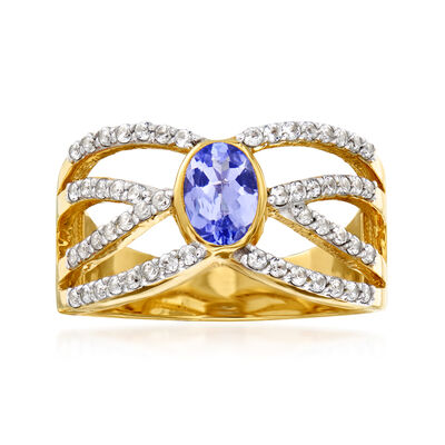 .50 ct. t.w. White Zircon and .40 Carat Tanzanite Crisscross Ring in 18kt Gold Over Sterling