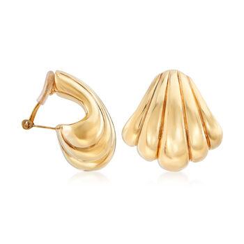 Italian 18kt Yellow Gold Seashell Clip-On Earrings, , default