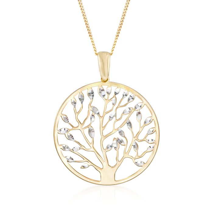 "Italian 18kt Yellow Gold Over Sterling Silver Tree of Life Pendant Necklace. 18"", , default"