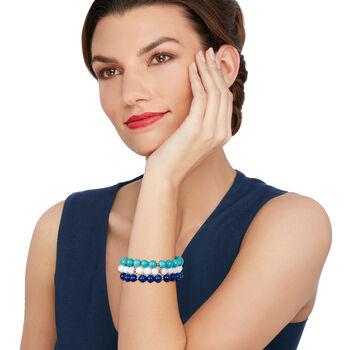 8mm Blue and White Multi-Stone Bead Jewelry Set: Three Stretch Bracelets, , default