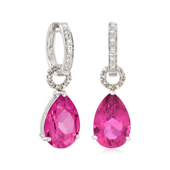 6.50 ct. t.w. Pink Topaz Pear-Shaped Earring Charms in Sterling Silver