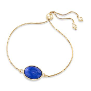 Lapis Bolo Bracelet in 18kt Gold Over Sterling