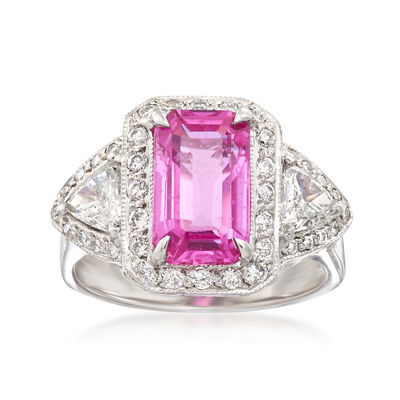 3.00 Carat Pink Sapphire and .85 ct. t.w. Diamond Ring in 18kt White Gold, , default