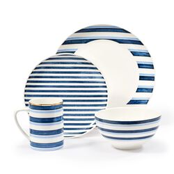 "16-pc. Service for 4 - ""Blue Azzurro"" Porcelain Striato Dinnerware by Lenox and Luca Andrisani, , default"