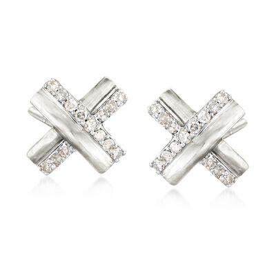 .10 ct. t.w. Diamond X Earrings in Sterling Silver, , default