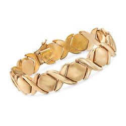 "C. 1980 Vintage 14kt Yellow Gold XO Bracelet. 7"", , default"