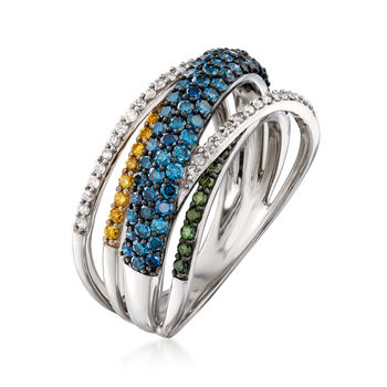 1.00 ct. t.w. Multicolored Diamond Highway Ring in Sterling Silver, , default