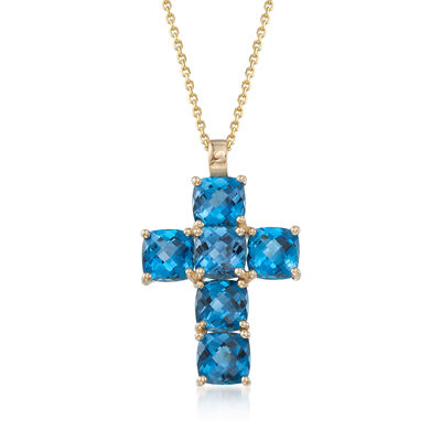 7.25 ct. t.w. London Blue Topaz Cross Pendant Necklace in 14kt Yellow Gold