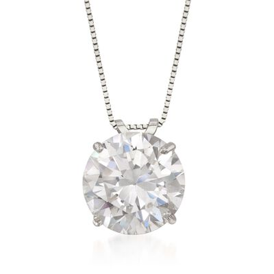 4.00 Carat CZ Solitaire Necklace in 14kt White Gold, , default