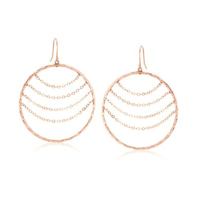 14kt Rose Gold Twisted Open-Circle Drop Earrings with Draping Chains, , default