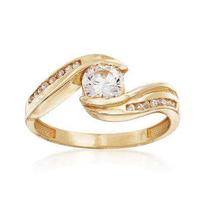 .58 ct. t.w. CZ Bypass Ring in 14kt Yellow Gold, , default