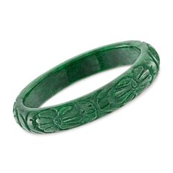 12mm Carved Jade Bangle Bracelet, , default