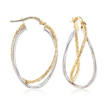 "Italian 18kt Two-Tone Gold Overlapping Double Hoop Earrings. 1 1/8"", , default"