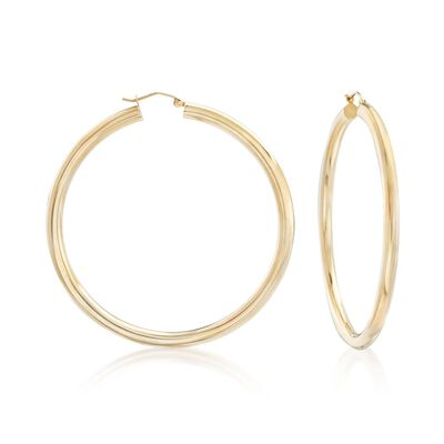 4mm 14kt Yellow Gold Extra Large Hoop Earrings, , default