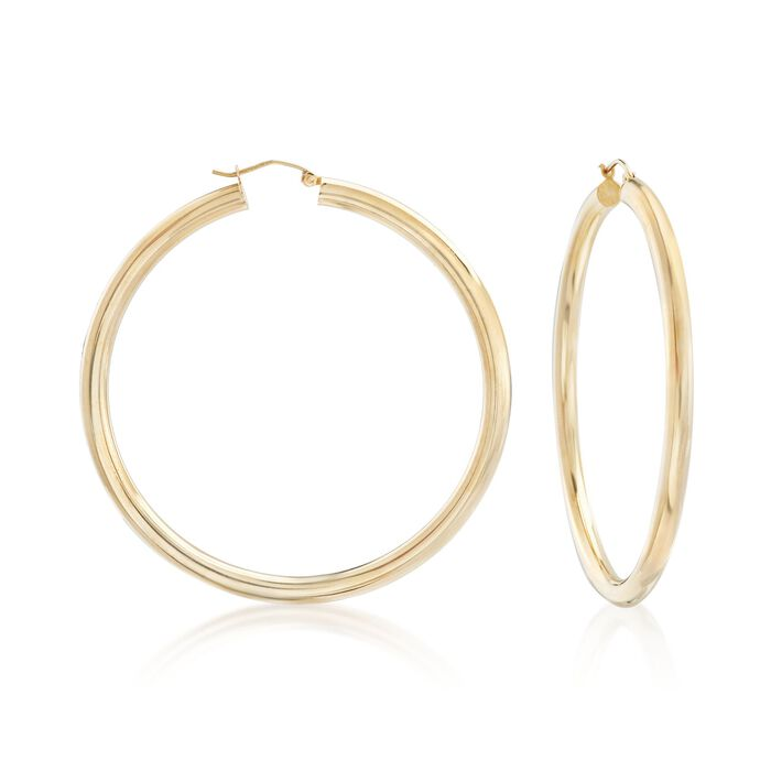 "4mm 14kt Yellow Gold Extra Large Hoop Earrings. 2 3/8"", , default"