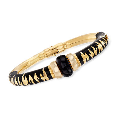 C. 2000 Vintage Soho Black Enamel Bracelet in 18kt Yellow Gold