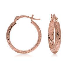"14kt Rose Gold Diamond Cut Hoop Earrings. 3/4"", , default"