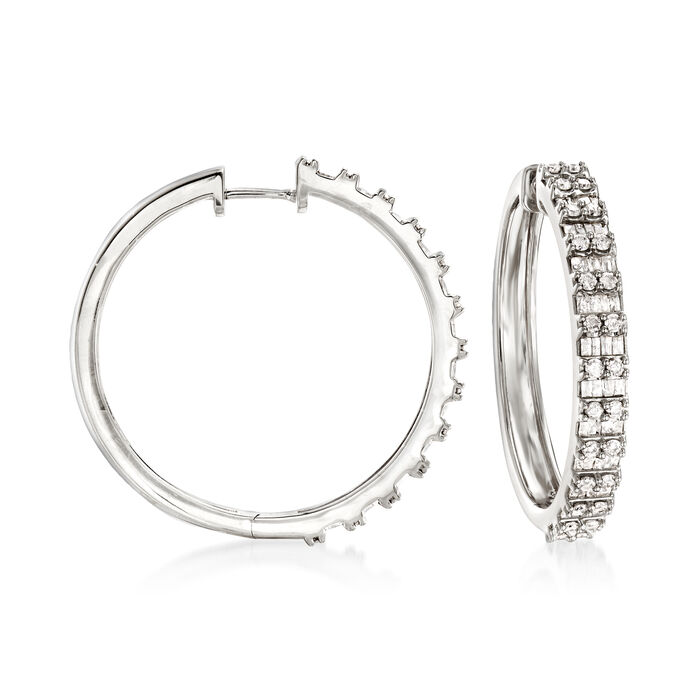 2.00 ct. t.w. Round and Baguette Diamond Hoop Earrings in Sterling Silver. 1 1/4""
